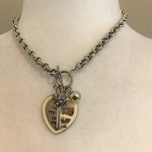 Guess Heart & Key Chunky Silver Plated Necklace